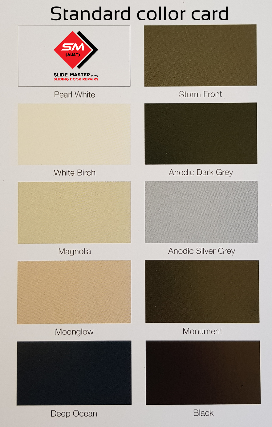 sliding door colour card